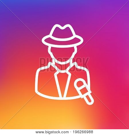 Isolated Journalist Outline Symbol On Clean Background