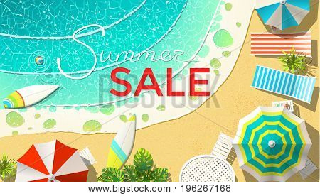 Vector illustration of beach with lounges and summer sale announcement from above.
