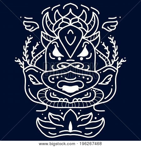 Mask flat icons royalty. Ethnic masks or tribal. Stock vector art