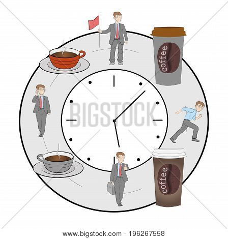 On the clock is the time where people work, and the time where they drink coffee. vector illustration.