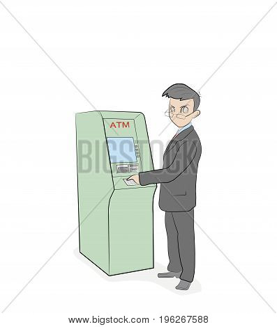 A person is standing near an ATM. vector illustration.