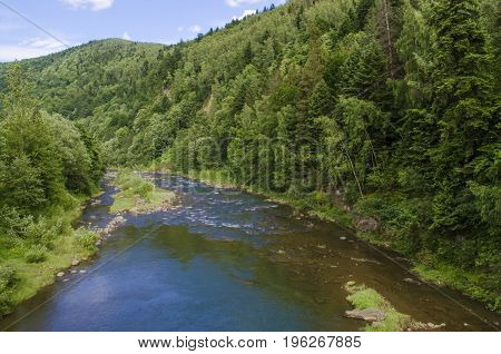 Mountain river with fast flow of clean water top view