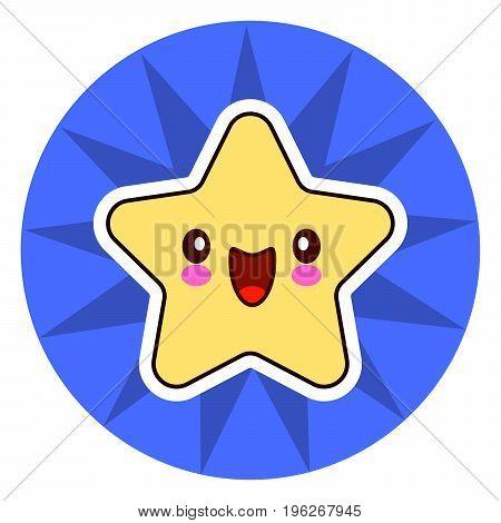 star face emoticon cute kawaii character. On blue circle. Vector illustration