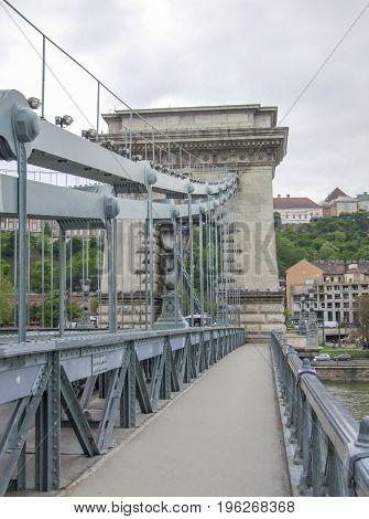 the Chain Bridge across the river Danube in Budapest hungary