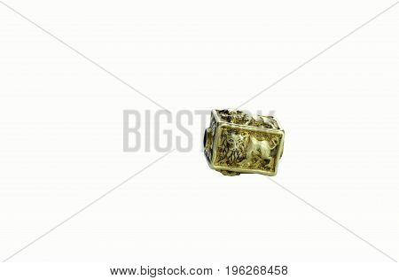 Beautiful ancient rare carved lion gold bead from Pyu period isolated on white background Myanmar