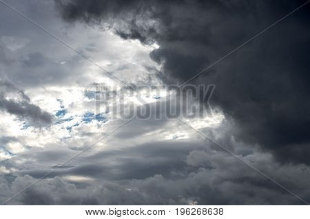 Large rain clouds on a blue sky, background, texture, close-up