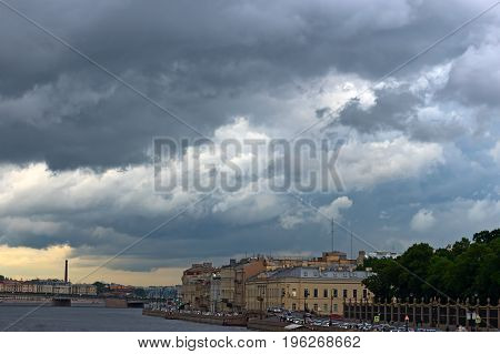 Large rain clouds over the city of St. Petersburg, background, texture, close-up