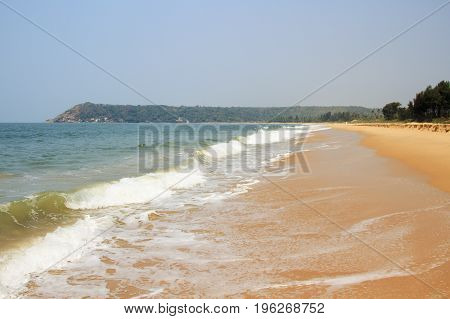 Beautiful empty beach with tropical nature and ocean