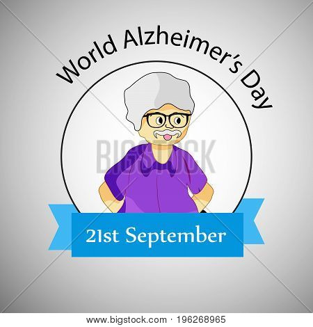 illustration of a old man with World Alzheimer's Day 21st September text on the occasion of World Alzheimer's Day