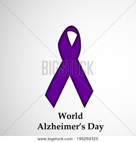 illustration of ribbon with World Alzheimer's Day text on the occasion of World Alzheimer's Day