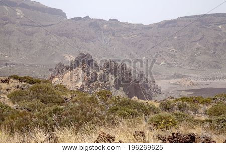 Canary Islands Tenerife Roques de Garcia rock formation within Teide National Park