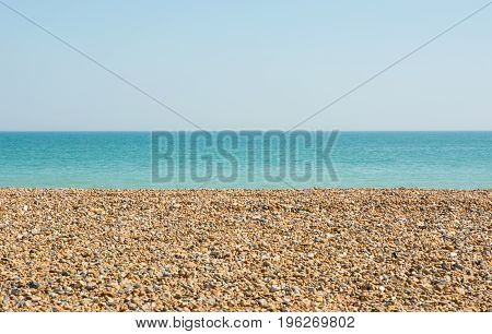 Shingle beach and sea at Ferring near Worthing West Sussex England