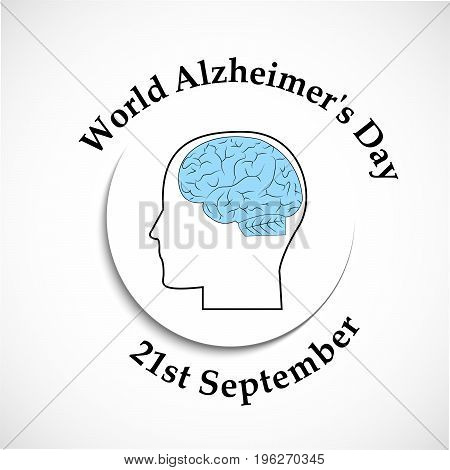 illustration of human face and brain with World Alzheimer's Day 21st September text on the occasion of World Alzheimer's Day