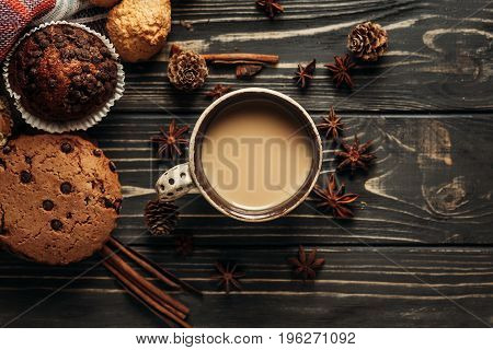 Aromatic Coffee Cookies And Anise Flat Lay On Wooden Background, Stylish Rustic Winter Wallpaper. Sp