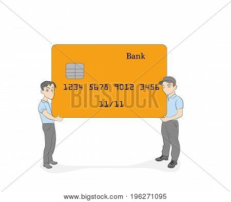 little people hold bank cards. vector illustration.