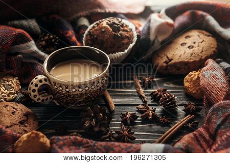 Stylish Rustic Winter Coffee Cookies And Spices On Wooden Background In Morning. Space For Text. Coz