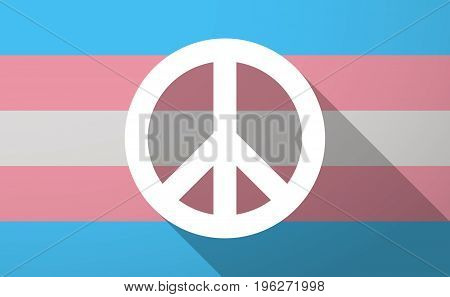 Long Shadow  Trans Gender Flag With A Peace Sign