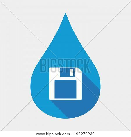 Isolated Water Drop With A Floppy Disk