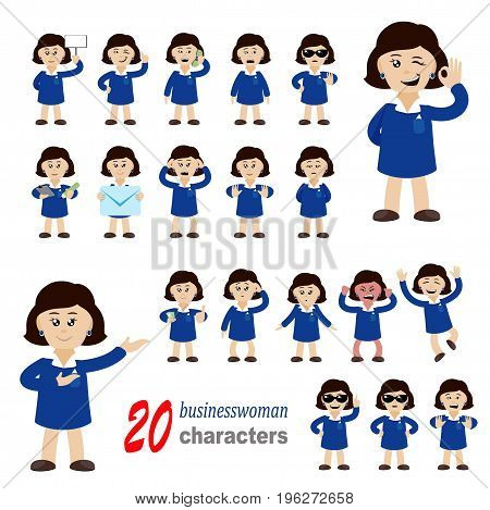 Collection of 20 businesswoman characters. eps 10