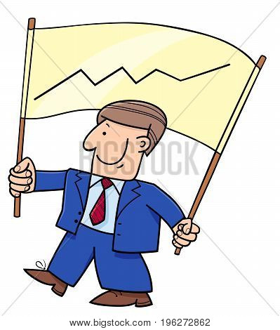 Cartoon Businessman And Banner With Chart