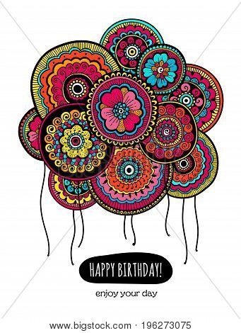 Colorful Happy Birthday card with balloons. Balloons with Indian floral pattern. Gift for your friend. Vector illustration.