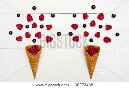 Top View Of Sweet Fresh Organic Raspberries And Blackberries In Waffle Cones. Fresh Berries In Cones