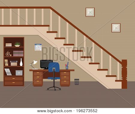 Workplace located under the stairs. There is a desktop, a cabinet for documents, a chair, a computer, a lamp and other objects in the picture. Vector flat illustration.