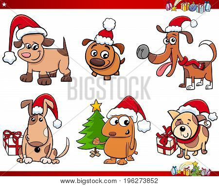 Cartoon Dog Characters On Christmas Set