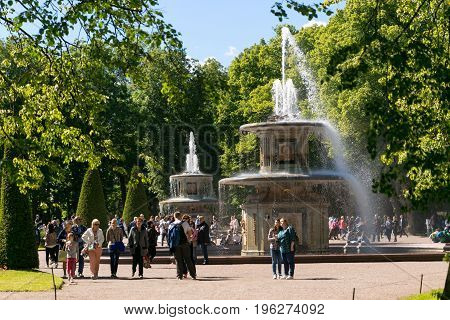 St. Petersburg, Russia - June 28, 2017: Cascade Of Fountains In Peterhof In St. Petersburg Petersbur