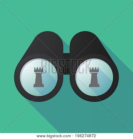 Long Shadow Binoculars With A  Rook   Chess Figure
