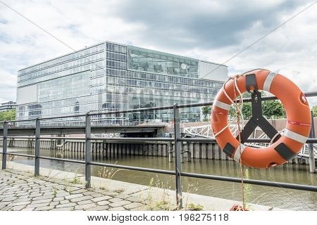 HAMBURG , GERMANY - JULY 14, 2017: The buildings of the Germany broadcasting station ZDF are located close to the famous Speicherstadt in Hamburg