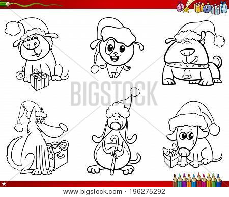 Dogs On Christmas Set Coloring Book