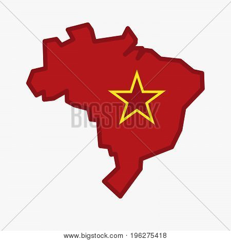 Isolated Brazil Map With  The Red Star Of Communism Icon
