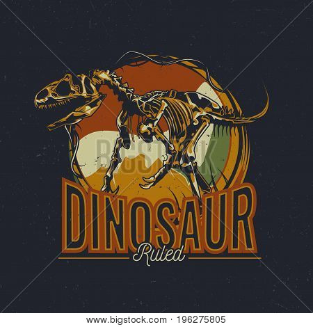 Dinosaur theme t-shirt label design with illustration of aged dinosaur bones