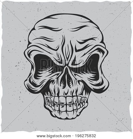 Angry skull poster with black and grey colors vector illustration