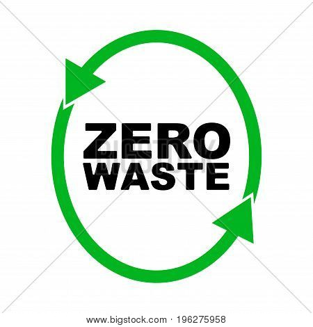 Garbage processing and recycling. Ecology. Logo or badge of zero waste. green symbol. global warming. Vector