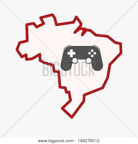 Isolated Brazil Map With  A Game Pad
