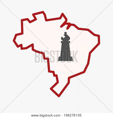 Isolated Brazil Map With A Bishop    Chess Figure