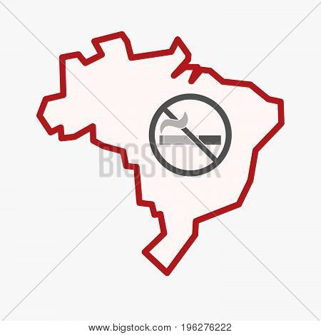Isolated Brazil Map With  A No Smoking Sign