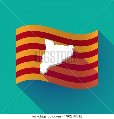 Long Shadow Catalonia Flag With  The Map Of Catalonia