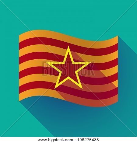 Long Shadow Catalonia Flag With  The Red Star Of Communism Icon