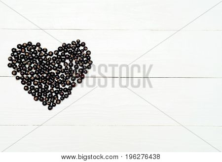 Top View Of Heart From Sweet Fresh Organic Blackberries, Free Space. Fresh Berries In Heart On White