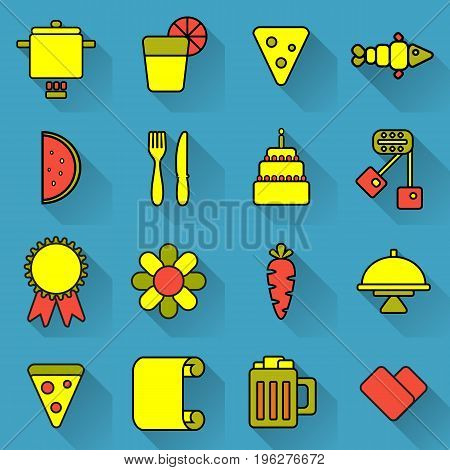 Food and cooking set of bright colored icons with shadow on blue background. Acidic unusual icons about cooking and food