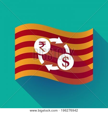 Long Shadow Catalonia Flag With  A Rupee And Dollar Exchange Sign