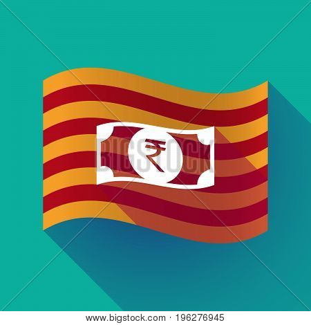 Long Shadow Catalonia Flag With  A Rupee Bank Note Icon
