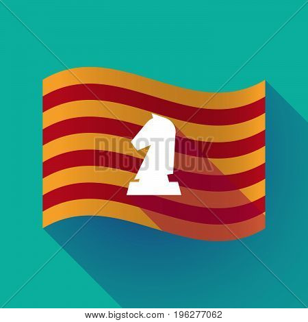 Long Shadow Catalonia Flag With A  Knight   Chess Figure