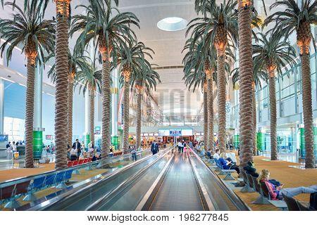 DUBAI, UAE - CIRCA MAY, 2014: moving walkway at Dubai International Airport.