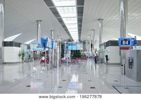 DUBAI, UAE - CIRCA MAY, 2014: inside Dubai International Airport.