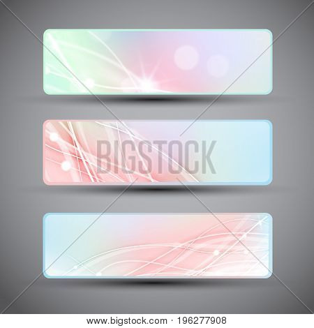 Three horizontal banners with abstract lines and bokeh pattern in pastel colors isolated on grey background with dark corners flat vector illustration