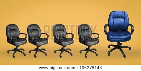 office chair with leadership concept on yellow background